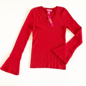 Catherine Malandrino Red Long Sleeve Sweater